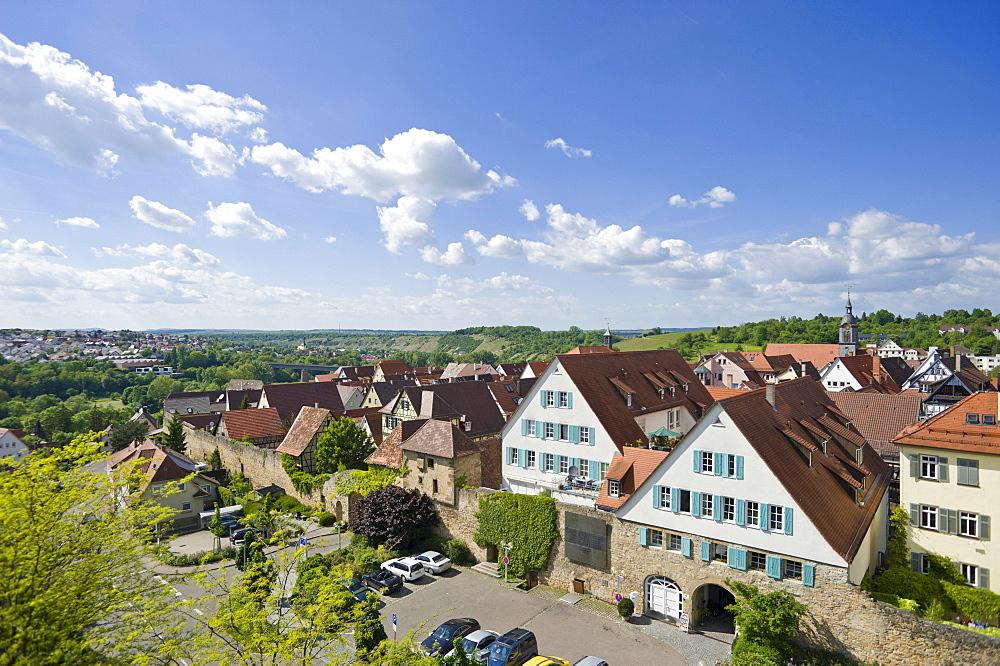 Townscape with former town wall, Marbach am Neckar, Neckar valley, Baden-Wuerttemberg, Germany, Europe