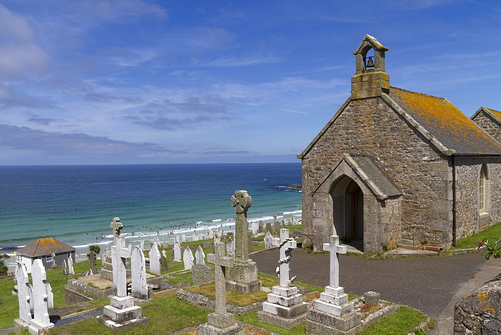 Old cemetery in front of Porthmeor Beach, St Ives, Cornwall, England, United Kingdom, Europe