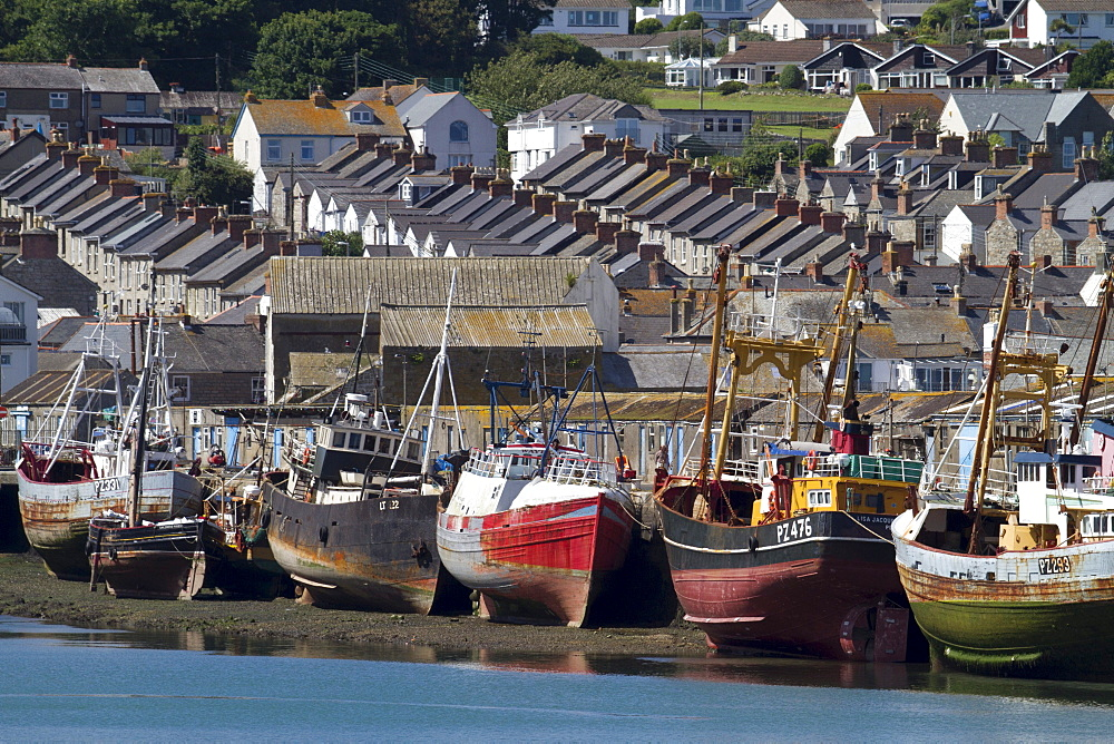Fishing boats on dry land in the port of Newlyn, Cornwall, England, United Kingdom, Europe