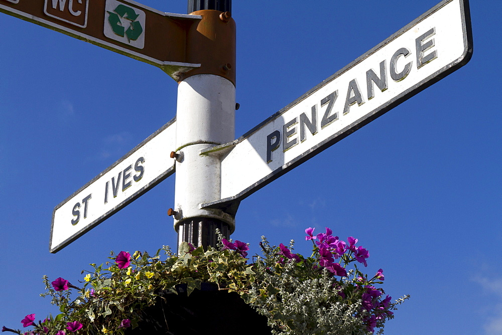 Signpost to St. Ives and Penzance, Cornwall, England, United Kingdom, Europe