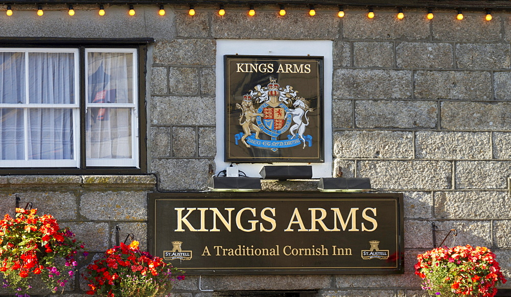 Facade, Kings Arms in St. Just, Penwith, Cornwall, England, United Kingdom, Europe