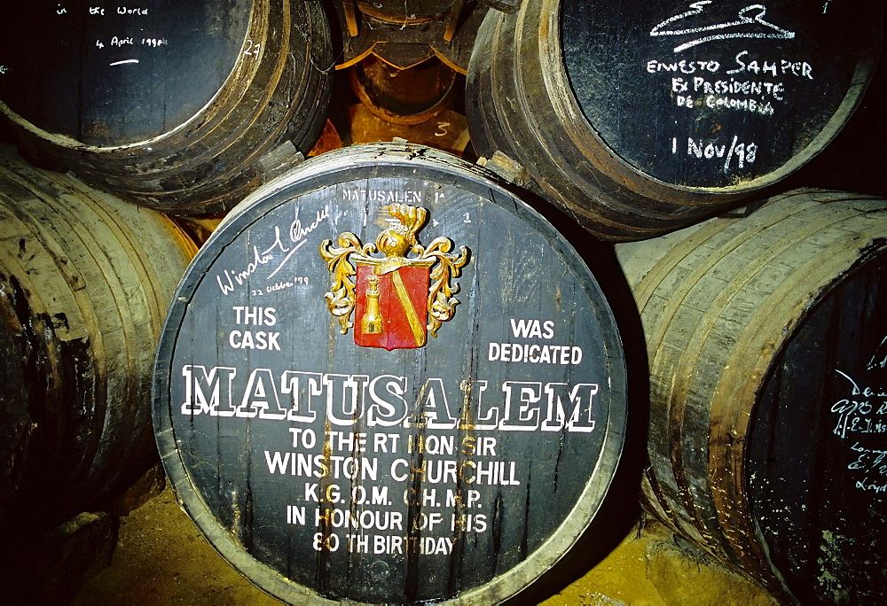 Old Sherry barrel with signature of Winston Churchill, Bodegas Tio Pepe, Jerez de la Frontera, Costa de la Luz, Andalusia, Spain, Europe