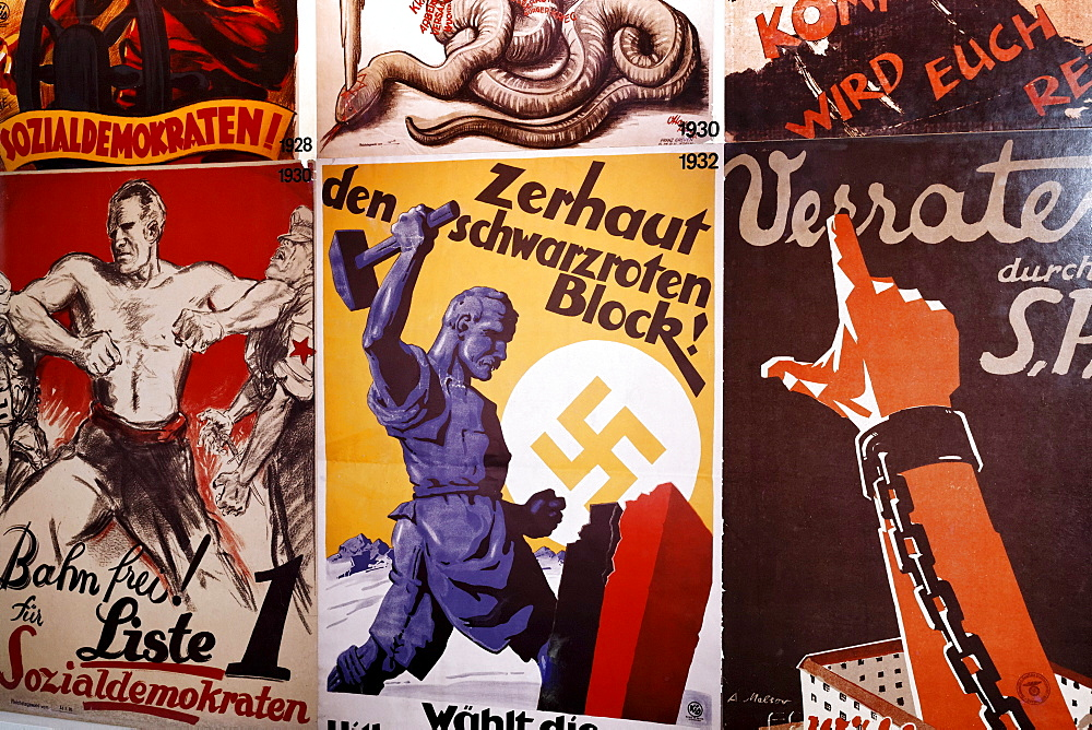 Election posters of political parties from 1938, Social Democrats, German Resistance Memorial, Bendlerblock, Berlin-Mitte, Germany, Europe