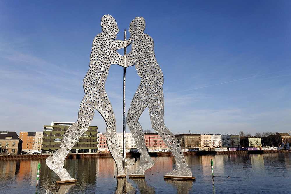 Molecule Man, monumental metal sculpture in the Spree river, human figures with holes, Treptow district, Berlin, Germany, Europe