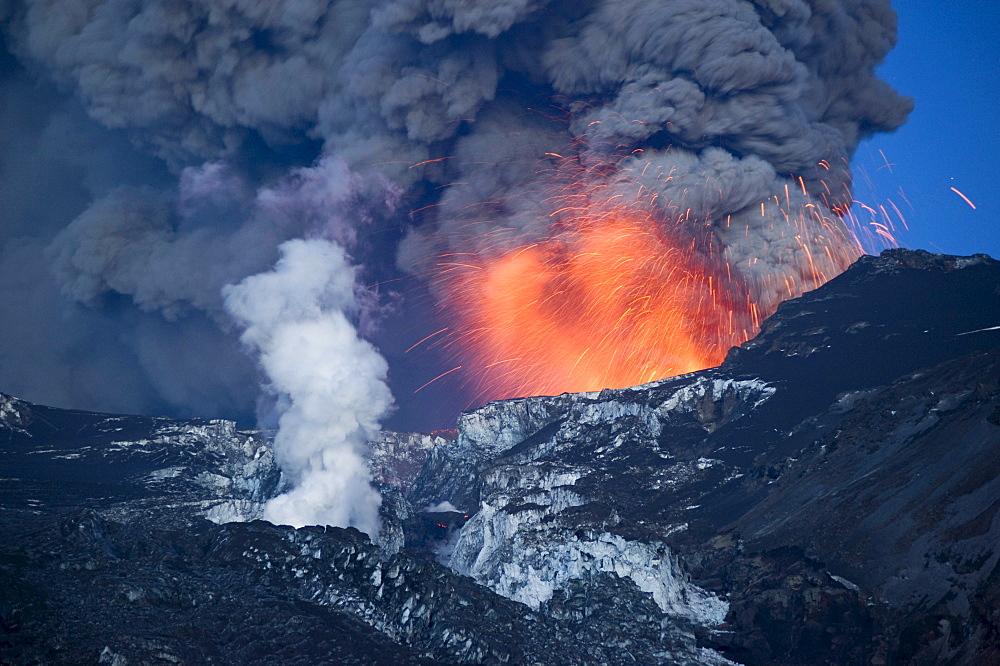 Eruption of Eyjafjallajoekull volcano, Iceland, Europe