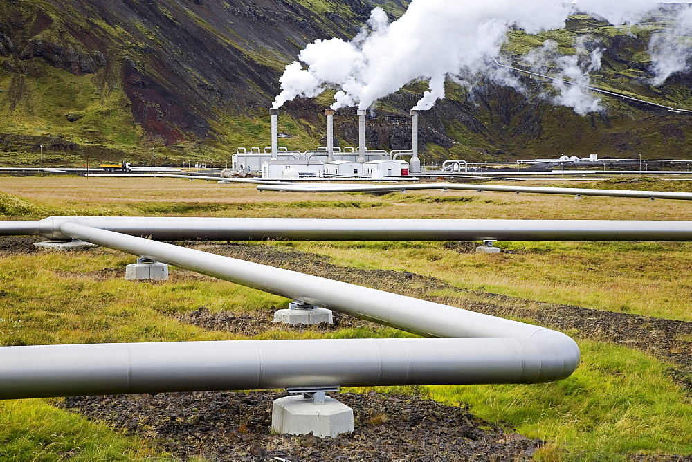 The geothermal Nesjavellir power station delivers energy via long pipelines and power-cables as far as Reykjavik, Iceland, Europe - 832-11103