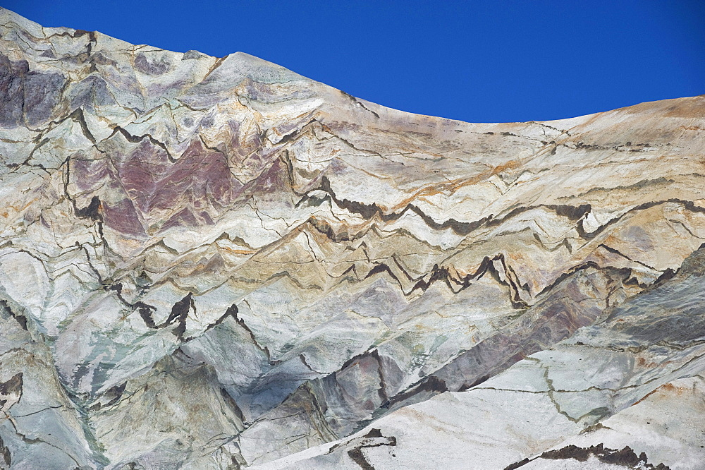 Colorful rhyolite mountains in Kjos, Skaftafell, Vatnajoekull National Park, South Iceland, Europe