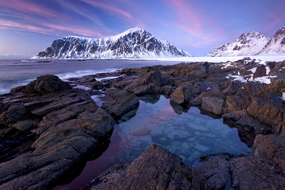 Evening mood at Skagsanden, the beach near Flakstad, Flakstadsoya, Lofoten, Nordland, Norway, Europe