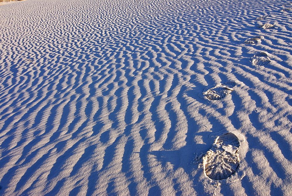 Footprints in the gypsum of White Sands National Monument, New Mexico, USA, America