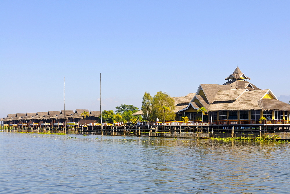 Bungalows of a luxury hotel on Inle Lake, Myanmar, Burma, Southeast Asia, Asia