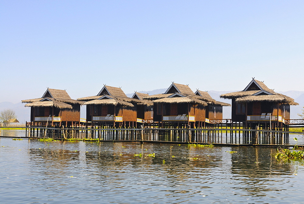 Bungalows of a luxury hotel on Inle Lake, Myanmar, Burma, Southeast Asia