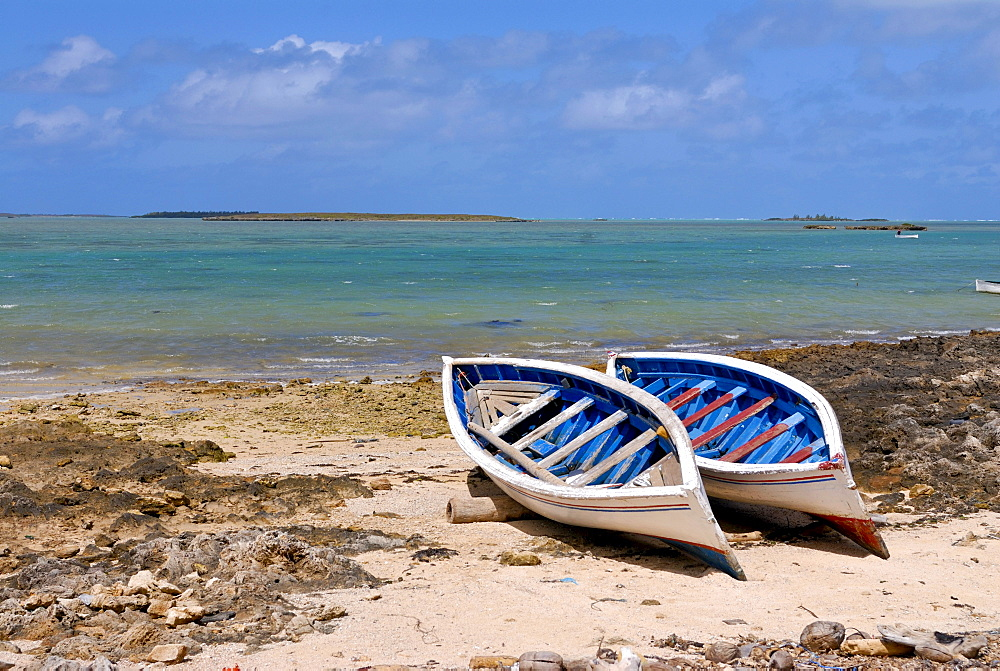 Two small rowing boats on the beach, Rodrigues, Mauritius, Africa