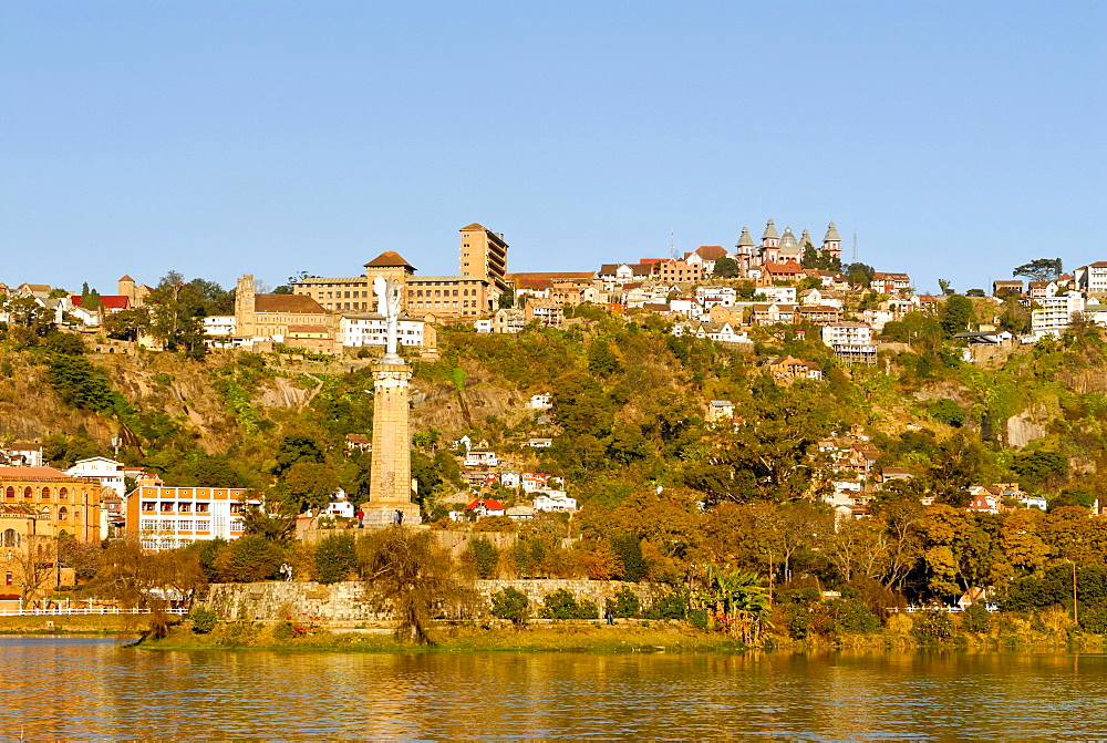 Anosy Lake, behind the historic district of Antananarivo, capital of Madagascar, with the Rova of Antananarivo, a royal palace complex, Madagascar, Africa
