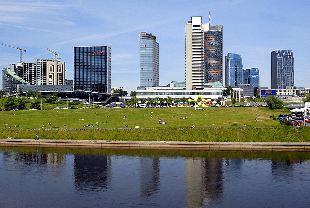 New buildings on the Neris river, Vilnius, Lithuania, Baltic States, Europe