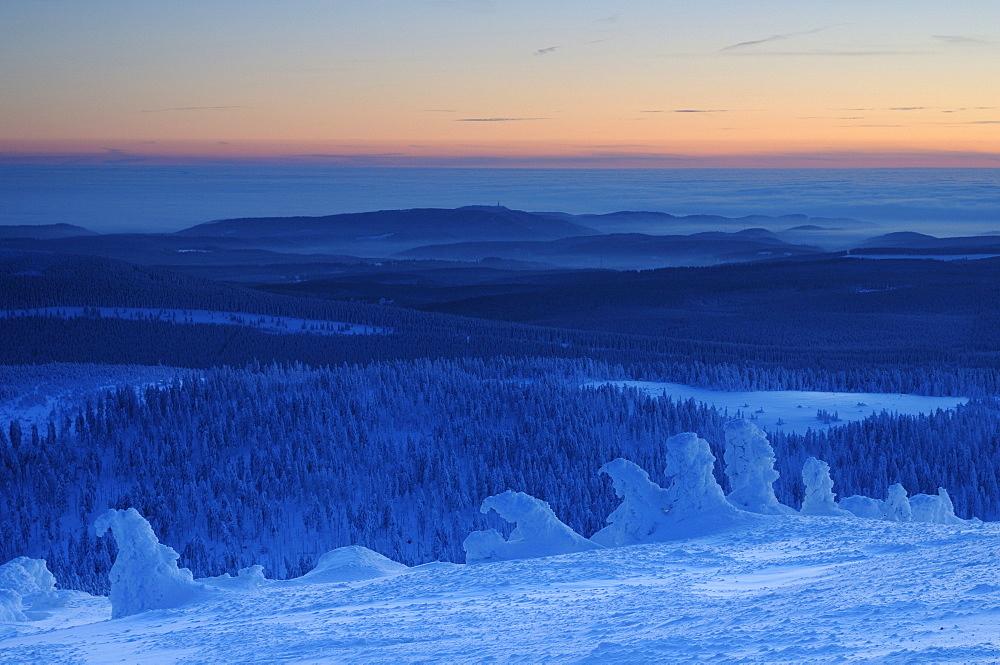 Winter evening on Mt. Brocken, Harz, Saxony-Anhalt, Germany, Europe