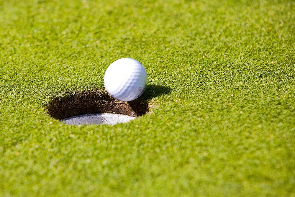 Golf, golf ball, green, hole