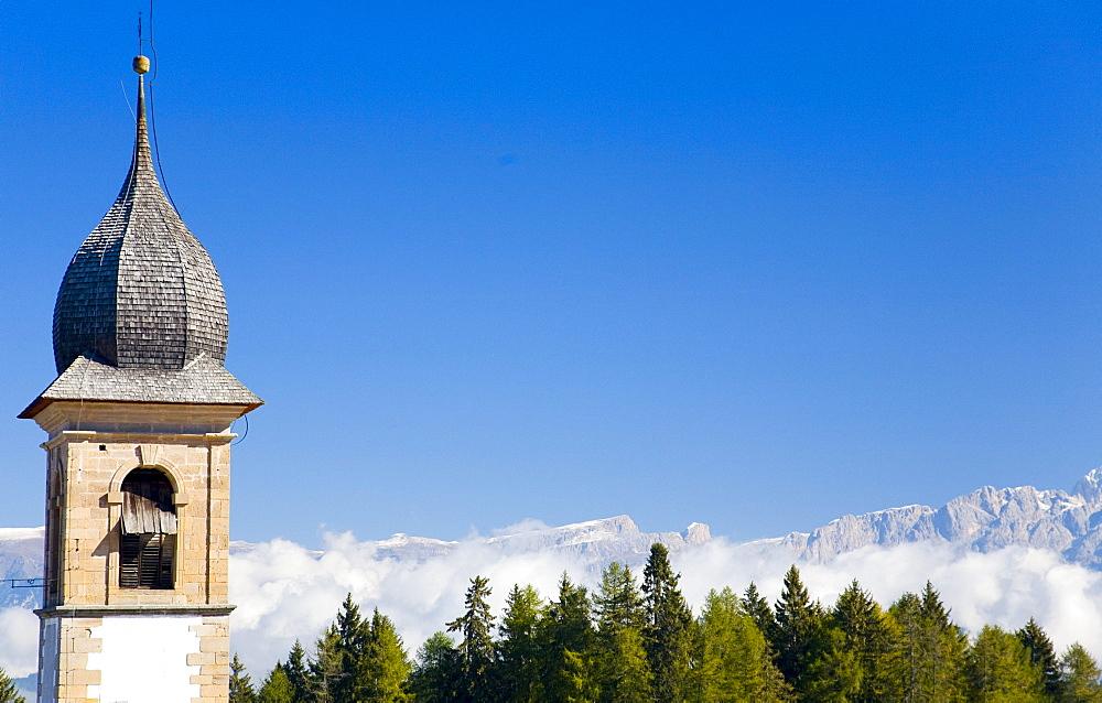 Church tower in Weissenstein, Petersberg, South Tyrol, Italy, Europe