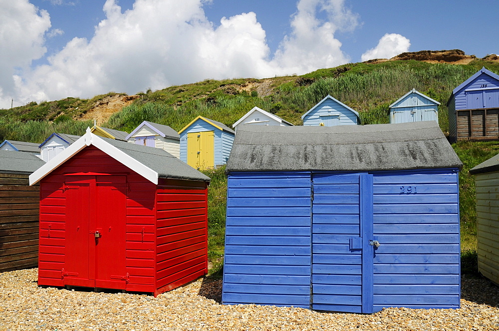 Beach huts on the beach of Milford on Sea, southern England, Great Britain, Europe