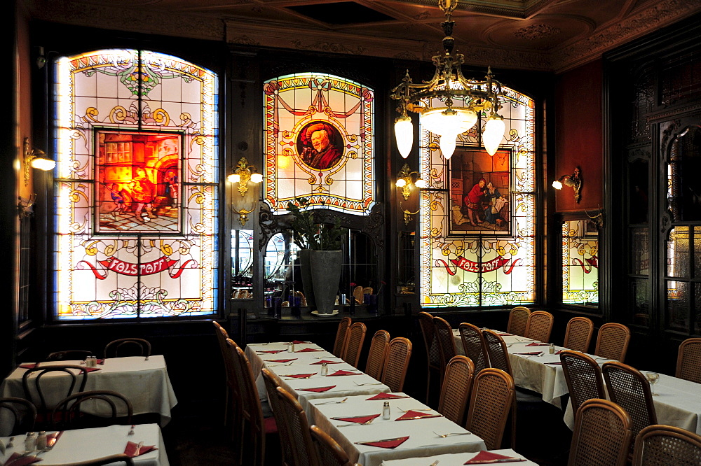 Art Nouveau cafe and restaurant Le Falstaff, interior decoration with leaded lights, lead glass windows in the pub, city centre, Brussels, Belgium, Benelux