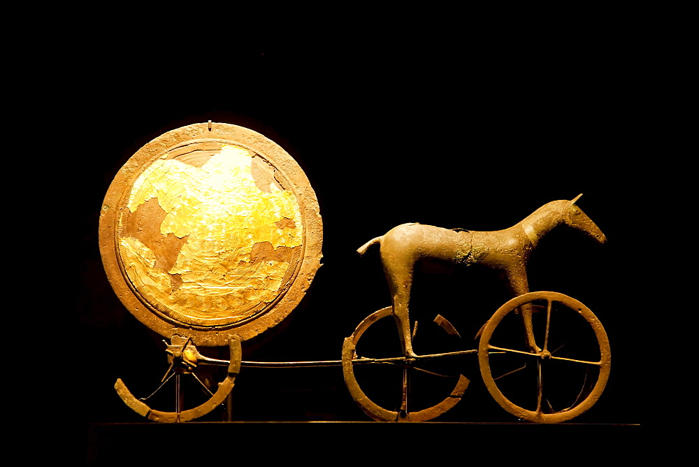 Solvognen, Trundholm sun chariot, from the Bronze Age, at display at the National Museum, Nationalmuseet, Copenhagen, Denmark, Europe