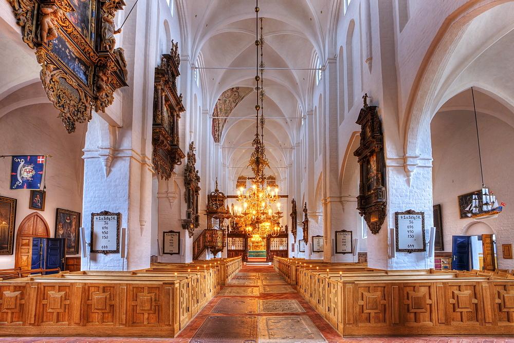 Interior, Sct. Olai Domkirke cathedral, Helsingor, Elsinore, Denmark, Europe