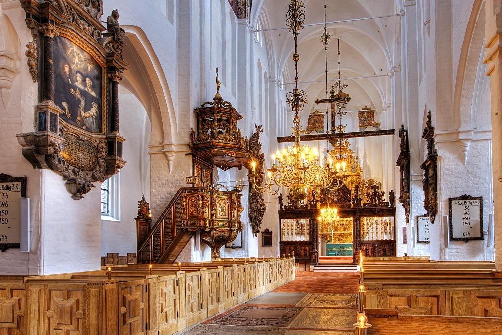 Sct. Olai Domkirke cathedral, interior, Helsingor, Elsinore, Denmark, Europe