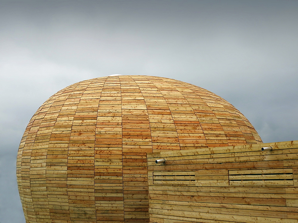 Futuristically designed chapel, wood passive house, domed structure, Bad Schwalbach-Langenseifen, Hesse, Germany, Europe