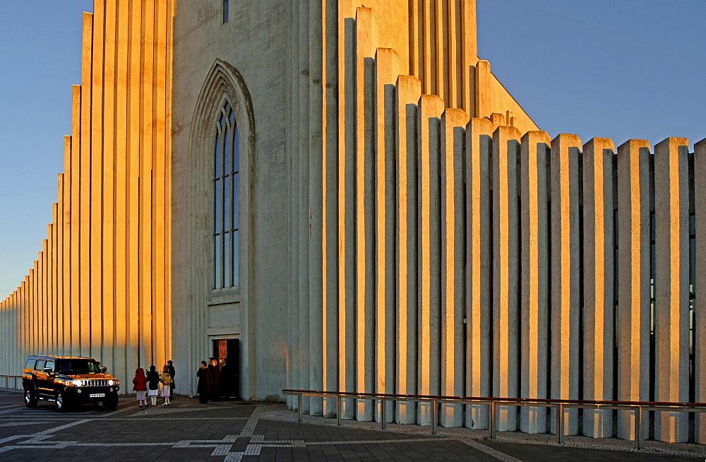 Wedding party in front of the Hallgrimskirkja church, Reykjavik, Iceland, Europe