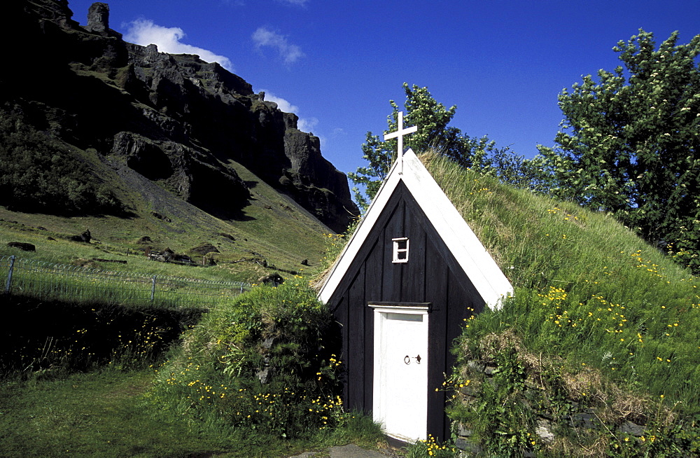 Old church of Nupsstair, South Iceland, Iceland, Europe