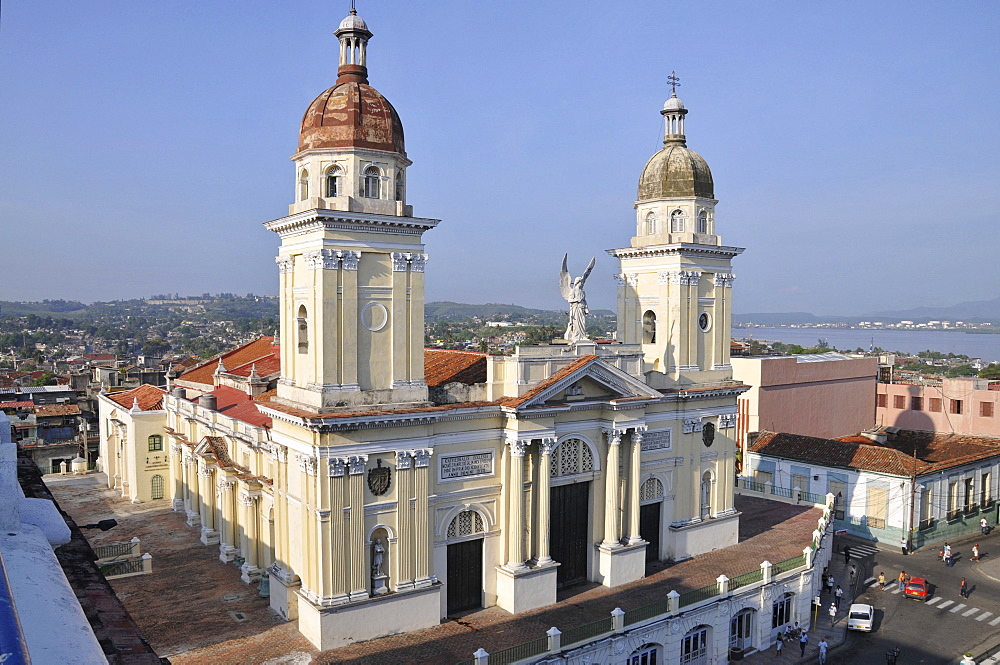 Cathedral of Santiago de Cuba, as seen from the terrace of the Casa Granda Hotel, Parque Cespedes park, Santiago de Cuba, historic district, Cuba, Caribbean, Central America