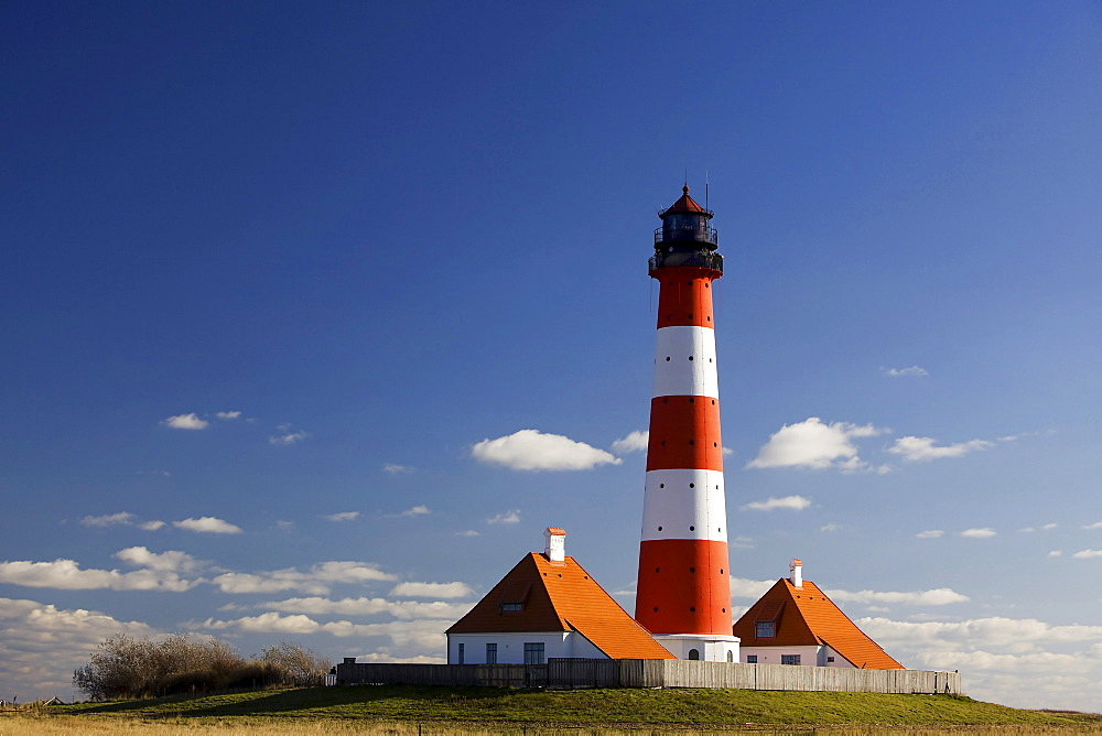 Westerhever lighthouse in Sankt Peter-Ording, North Frisia, Schleswig-Holstein, Germany, Europe