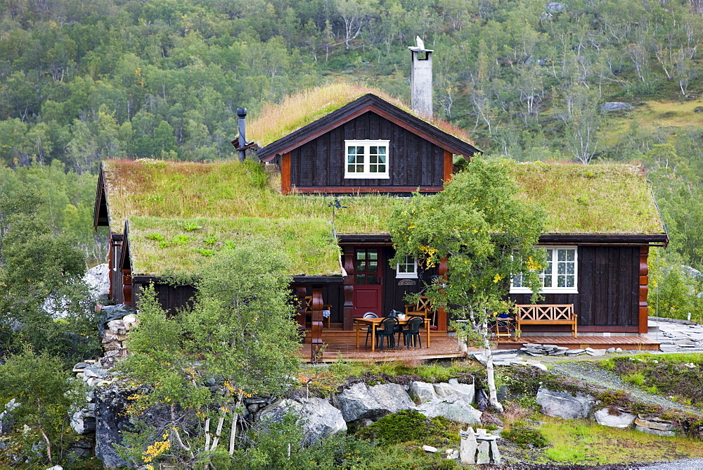 Norwegian cottage with a thatched roof, Norway, Scandinavia, Europe