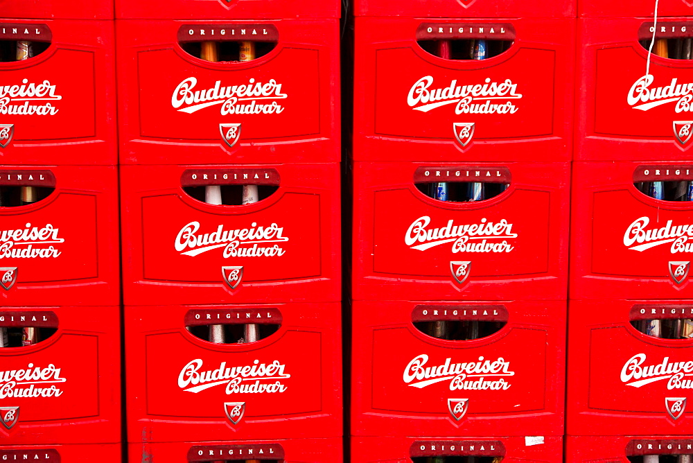 Beer crates of Budweiser beer at the Budweiser brewery in Ceske Budejovice, Budweis, Budvar, Bohemia, Czech Republic, Europe
