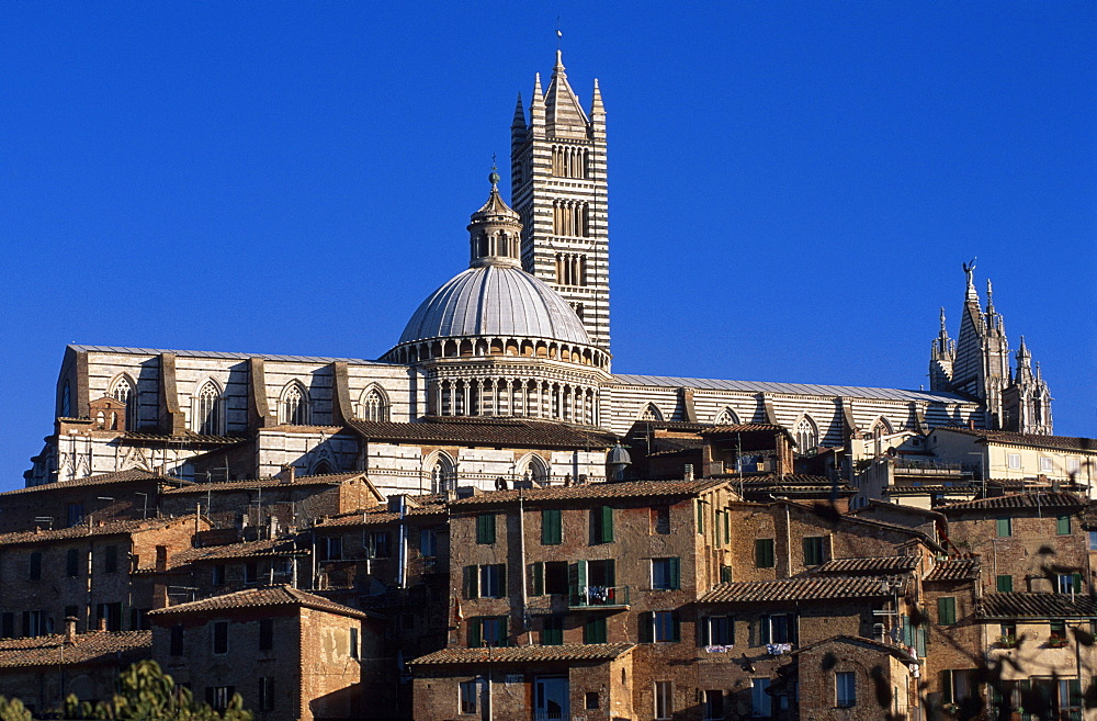 Cathedral of Santa Maria Assunta, Siena Cathedral with baptistery, UNESCO World Heritage Site, Siena, Tuscany, Italy, Europe