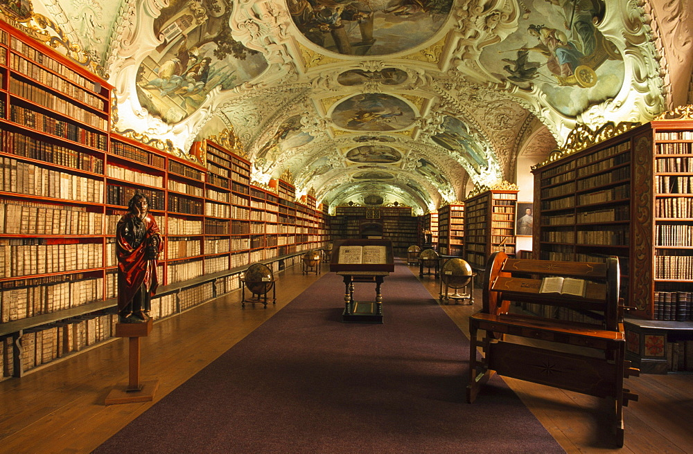 Library in the Strahov Monastery, Unesco World Heritage Site, Prague, Czech Republic, Europe
