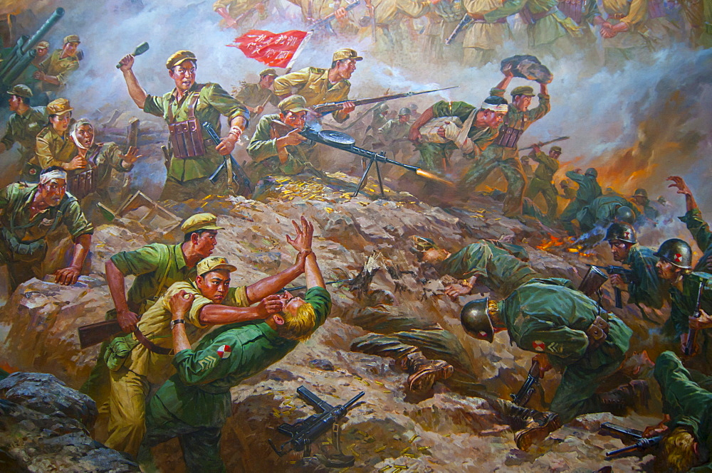 Communist mural, Pyongyang, North Korea, Asia