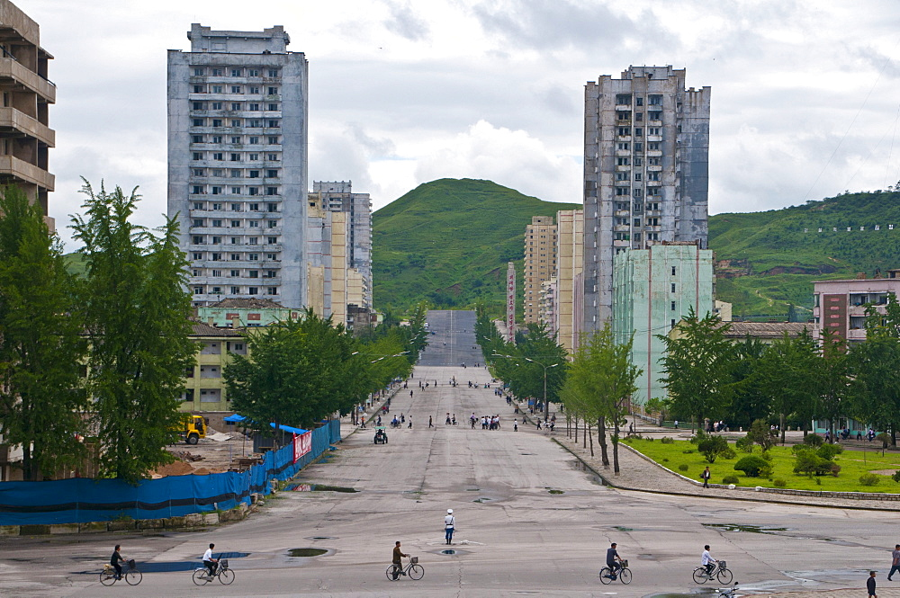 Run-down prefabricated concrete housing blocks, Kaesong, North Korea, Asia