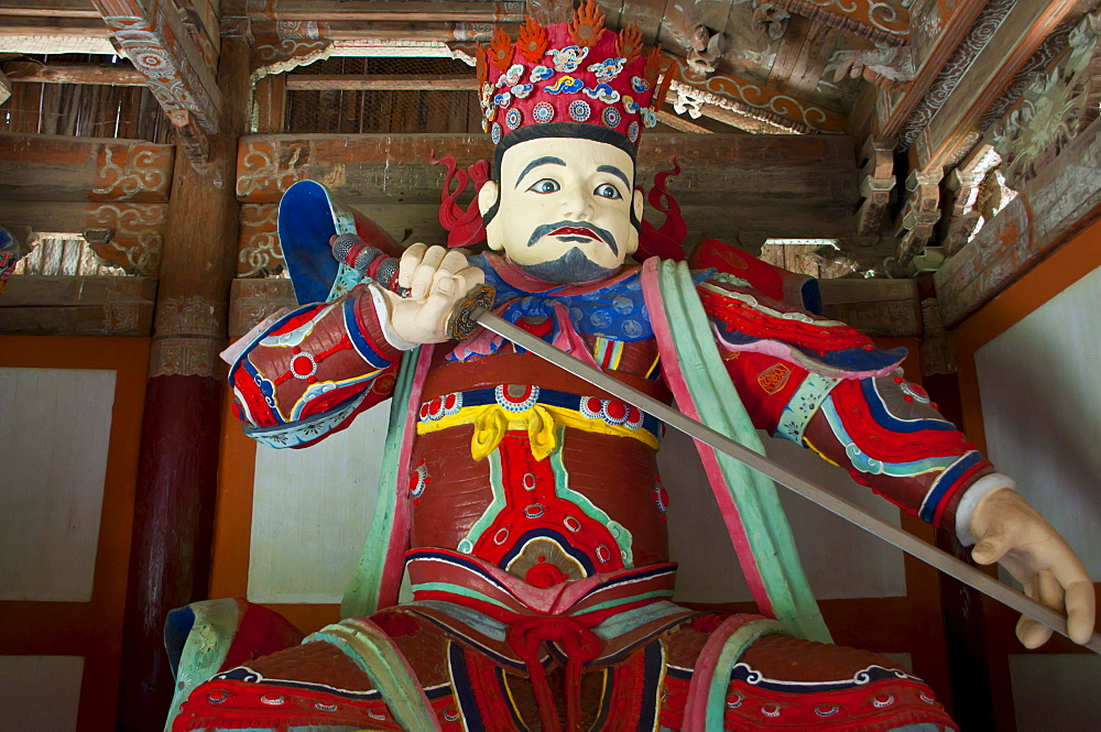 Colourful statue at the Buddhist Pohyon Temple on Mount Myohyang-san, North Korea, Asia
