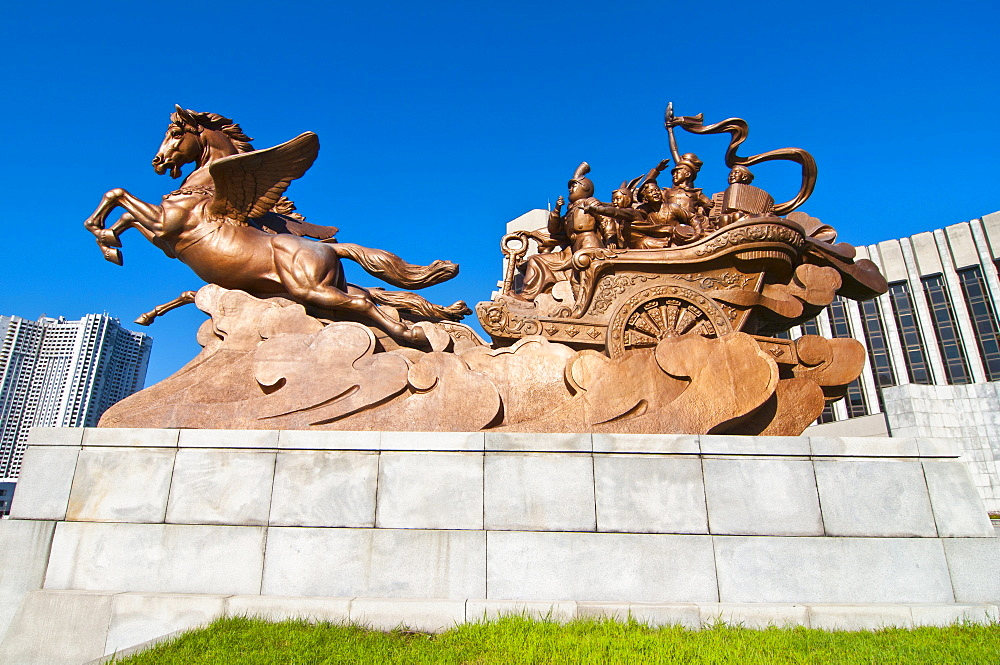 Equestrian statue in front of the Children's Palace, Pyongyang, North Korea, Asia