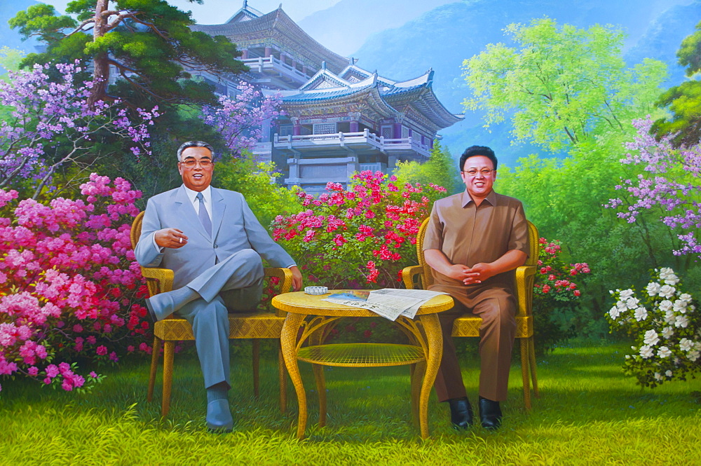 Kim Il Jong und Kim Song Il as a wall painting on Mount Myohyang-san, North Korea, Asia