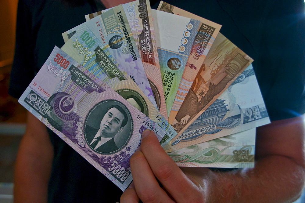Person holding a fan of North Korean banknotes