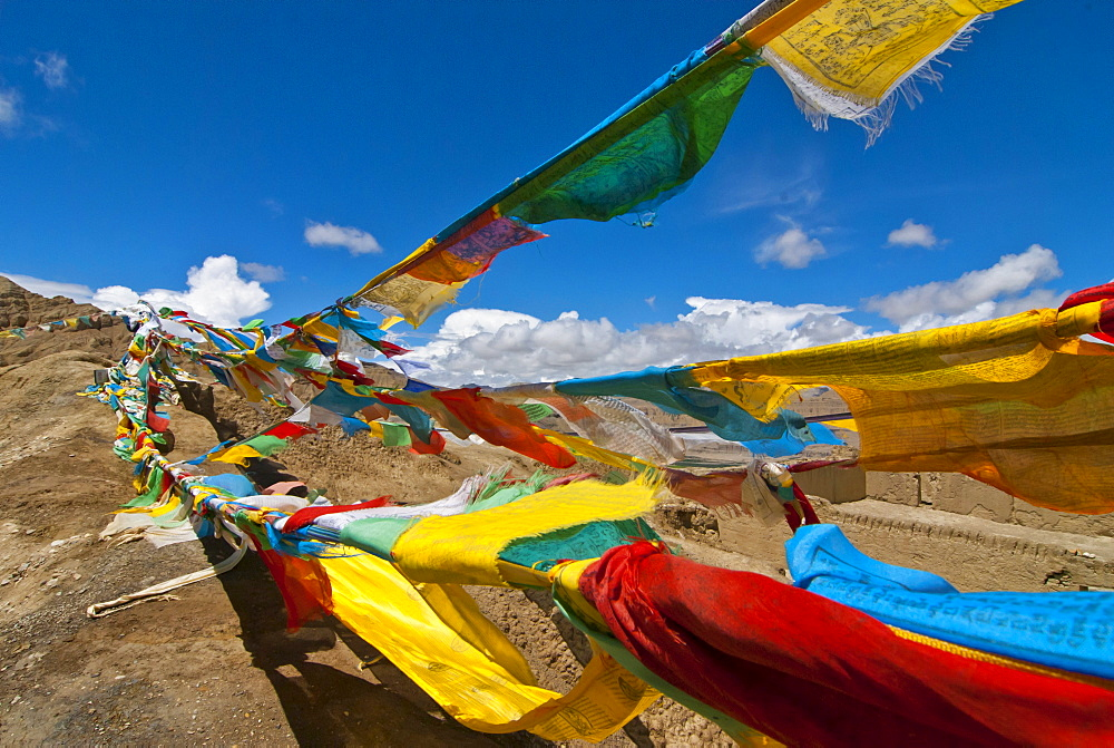Prayer flags in the region of the ancient kingdom of Guge, Western Tibet, Tibet, Asia