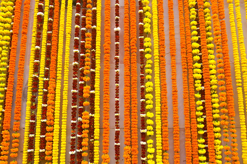 Floral decorations in Kamakhya Temple, a Hindu temple, Guwahati, Assam, North East India, India, Asia