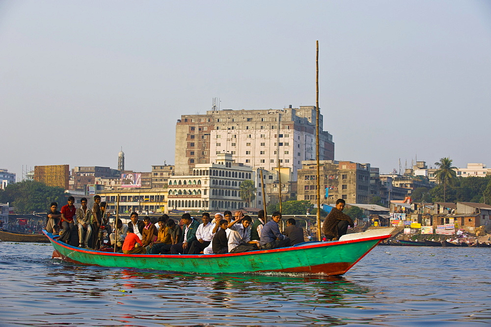 Rowing boat in the busy port of Dhaka, Bangladesh, Asia