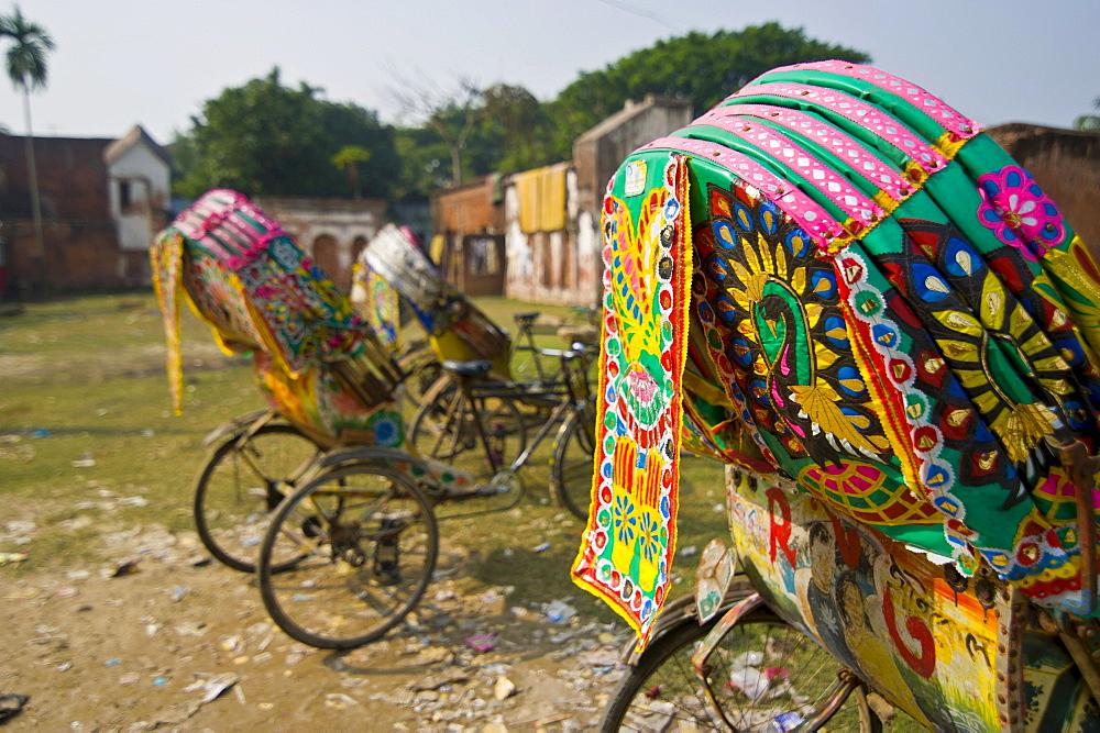 Decorated bicycle rickshaws, Sonargaon, Bangladesh, Asia