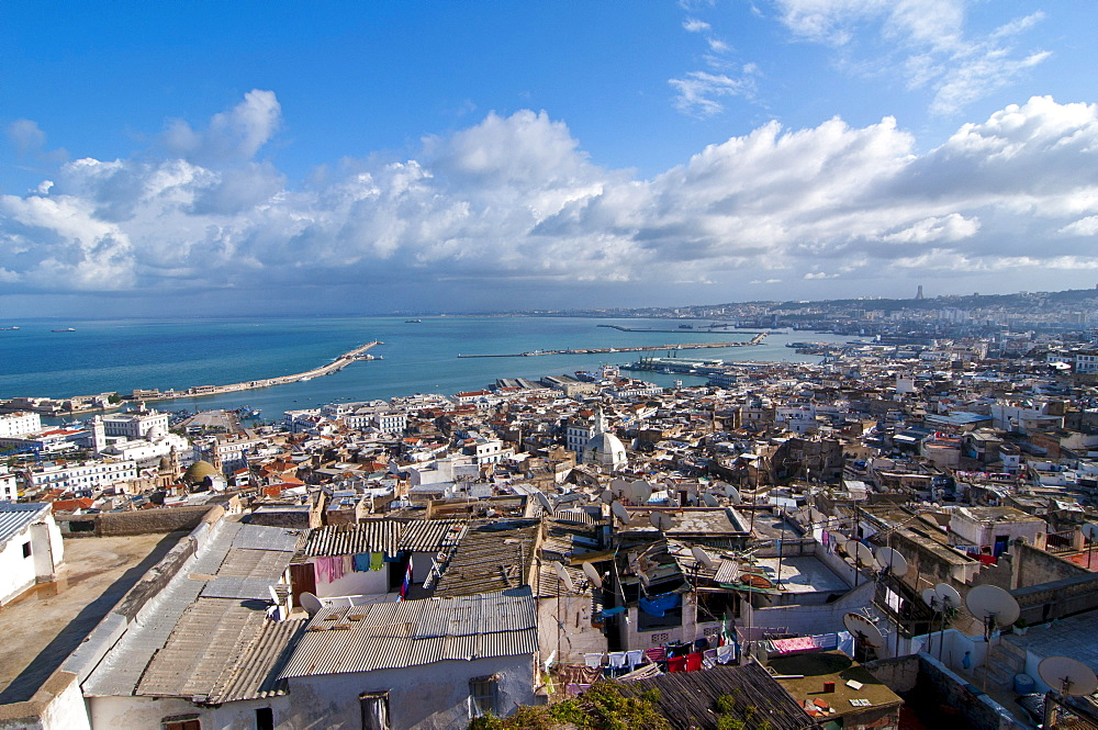 View over the Unesco World Heritage site, the Kasbah, historic district of Algiers, Algeria, Africa
