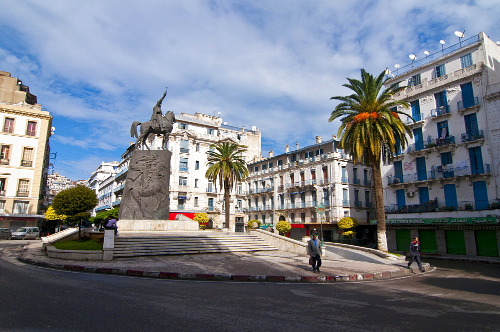 Square and statue of Abdel Kader in Algiers, Algeria, Africa