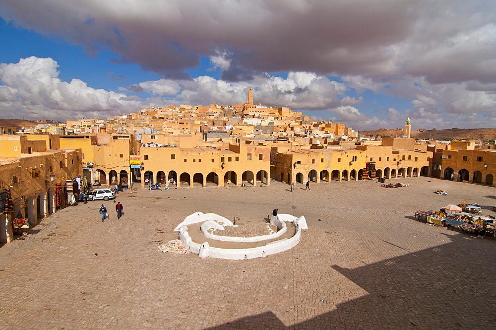 Market square in the village of Ghardaia in the Unesco World Heritage Site M'zab, Algeria, Africa