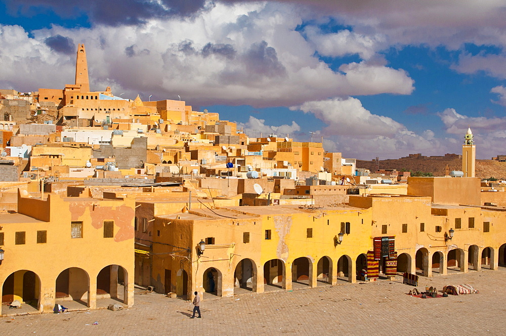 Market square in the village of Ghardaia in the Unesco World Heritage Site M'zab, Algeria, Africa
