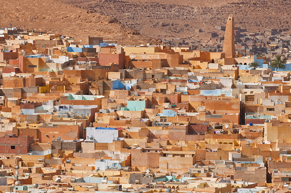 View over the villages of the Unesco World Heritage Site M'zab, Algeria, Africa